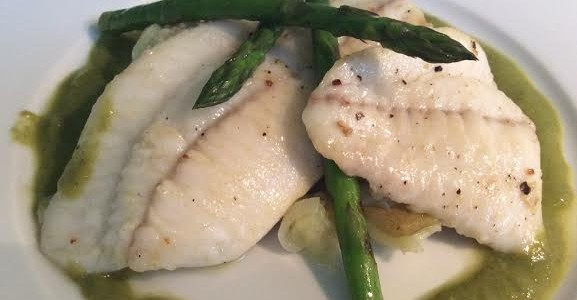 Pan Fried Turbot with Asparagus Sauce