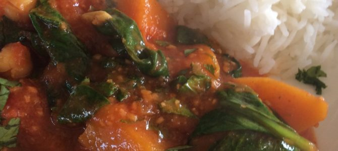 Squash, Spinach and Chickpea Curry